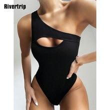 Solid One Piece Swimsuit One Shoulder Swimwear Women Cut Out Bathing Suit High Cut Female Beach Wear Ribbed Swimming Suit 2020 cut out crop ribbed tshirt