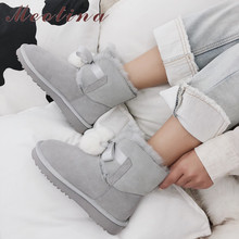 Meotina Winter Fur Snow Boots Women Boots Warm Wool Flat Ankle Boots Cow Suede Round Toe Short Shoes Female 2019 Big Size 33-43 недорого