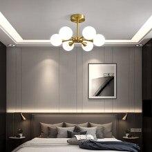 Nordic led lustre para a cozinha quarto sala de jantar moderna bola de vidro cobre lâmpada pingente teto pendurado iluminação para casa