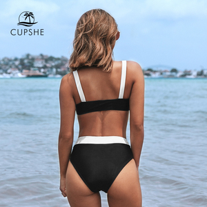 Image 2 - CUPSHE Black and White Bandeau High Waited Bikini Sets Sexy Padded Swimsuit Two Pieces Swimwear Women 2020 Beach Bathing Suits
