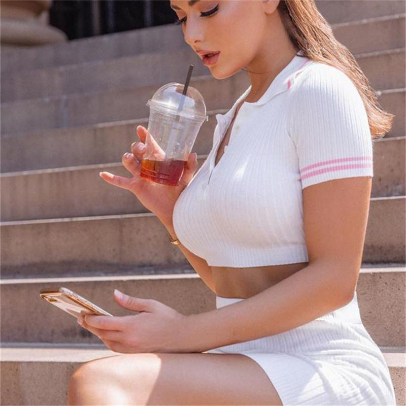 H69d5098c6c0c40619c1cc1fedb53c387k - InstaHot Sexy 2 Pieces Set Women Turn Down Collar T shirt Mini Skirt Slim Stretch Short Sleeve Summer Casual Outfit 2Piece Set