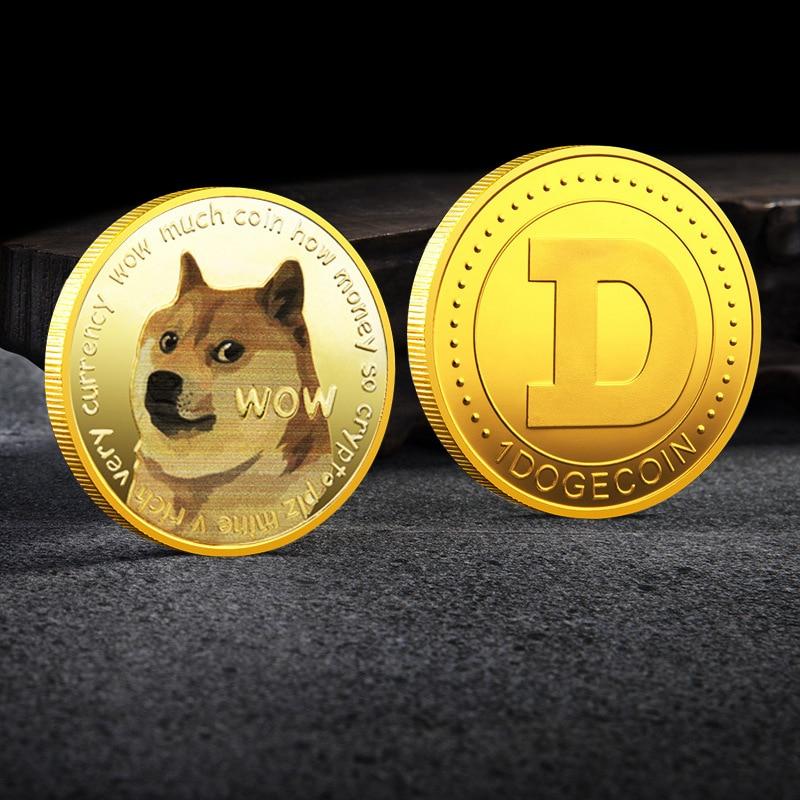 Schöne WOW Gold Überzogene Dogecoin Gedenkmünzen Niedlichen Hund Muster Hund Souvenir Sammlung Geschenke Neue 2021