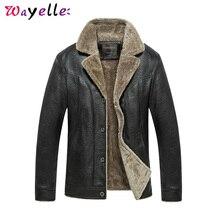 Mens Faux Fur Coats and Jacket Winter Motorcycle PU Leather Jacket Men Solid Fleece Warm Windbreaker PU Jackets Plus Size 4XL цена 2017
