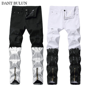 Destroyed Men's Jeans Skinny Slim Fit Denim Pants Casual Zipper Legs Trouser Ripped Distressed Printed Black White Long Jeans skinny jeans for men distressed stretch jeans ice blue ripped skinny jeans slim fit dropshipping supply white tape design