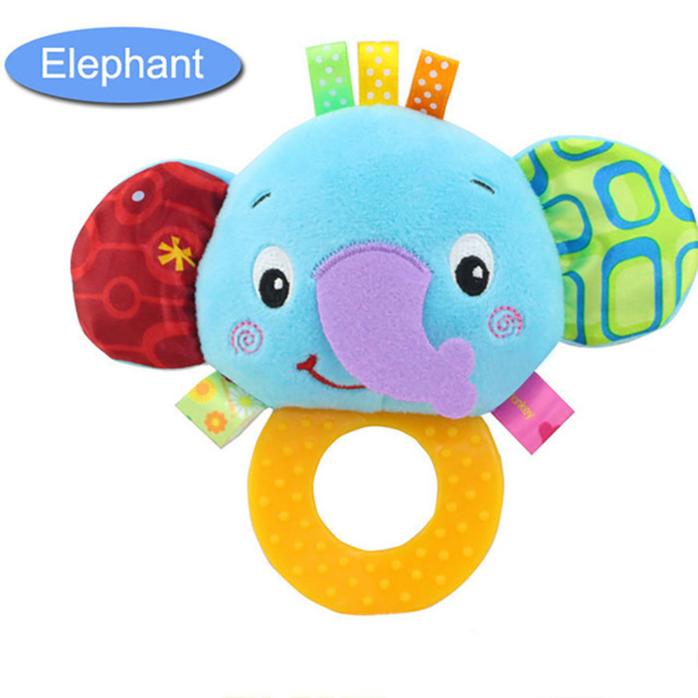 Animal Hand Bells Teether Rattle Doll Baby Cute Rattles Cartoon Animal  Plush Toys Infant Kids Gifts Early Education Toys