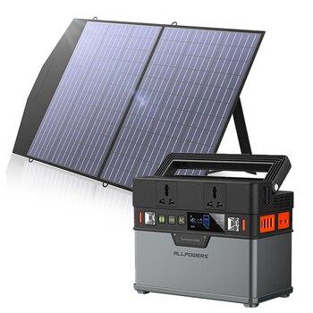 Estación de energía portátil de 220V/110V, generador Solar de 372Wh, energía de respaldo de emergencia con Panel Solar plegable de 18V y 100W para acampar al aire libre 1