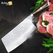 سكين مطبخ صيني 7 بوصة سكين ساطور 7CR17 440C مزورة الفولاذ المقاوم للصدأ كامل تانغ الشيف جزار المروحية اللحوم Santoku أداةسكاكين مطبخ