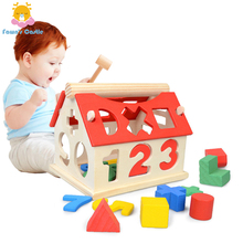 Baby Wooden Building Blocks Children Montessori Educational Toy Educational Digital Number toys Wooden Toys House Xmas Gift for montessori toy baby educational wooden building blocks toy brown stairs teaching toys page 1