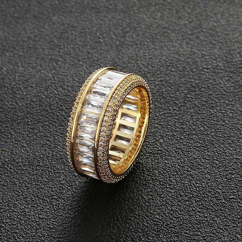 MISSFOX bague en acier inoxydable bijoux précieux or argent blanc 7-12 taille zircon cubique anneaux de luxe Punk accessoire en gros