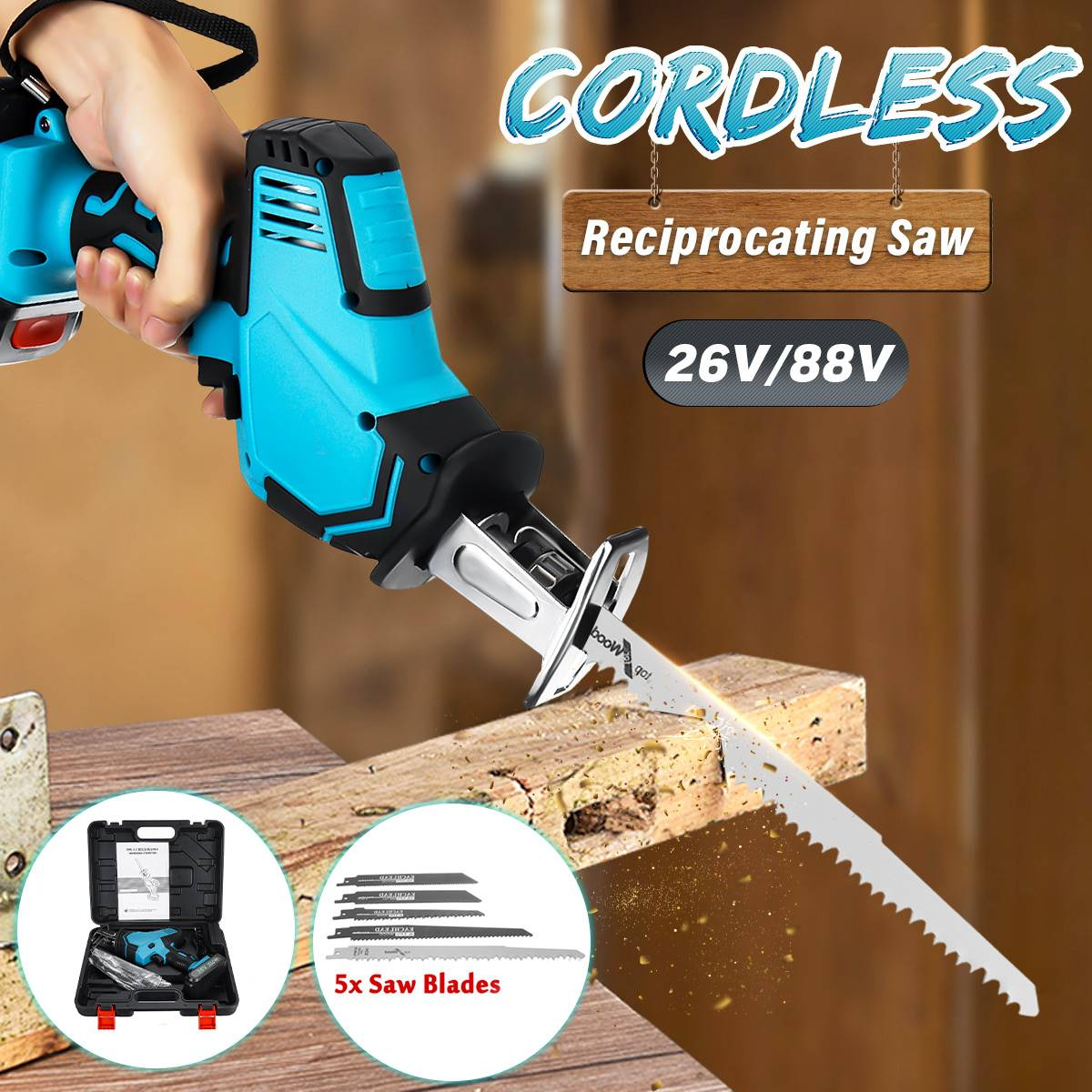 Doersupp 26V/88V Cordless Reciprocating Saw +5 Saw Blades Metal Cutting Wood Tool Portable Woodworking Cutters
