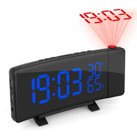 Home Led Alarm Clock FM Radios Gift Digital Projection Temperature Display Dimmable Humidity USB Charging Sleep Timer Indoor