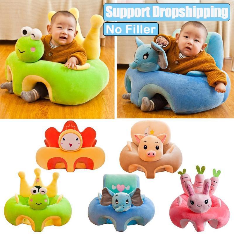 Capa de sofá de aprender a sentar para bebês, sem enchimento, feito de pelúcia, ninho confortável para criança, berço sofá cadeira