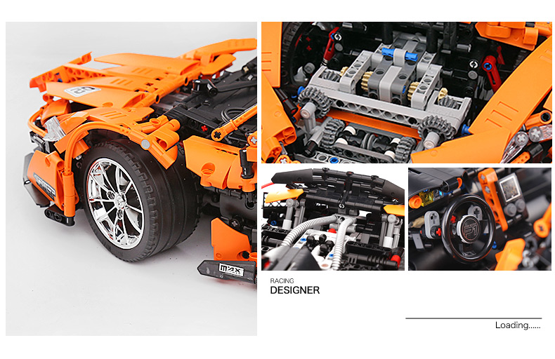 1 to 8 ratio 13090 Technic Series McLaren P1 Orange Racing Car Set APP RC Model Building Blocks Power Motor Function Toys 20087 33