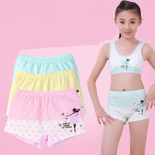 4Pcs Fashion Teenage Underwear Princess Big Girls Shorts Boxers Cotton Teen Panties Dot Print Underpants 10 16 Yrs Kids Clothes