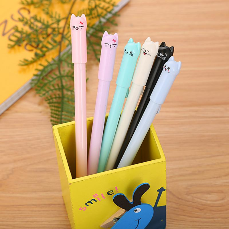 6 Color 6pcs 0.5mm Creative Stationery Cute Cartoon Tail Cat Neutral Pen Student With Full Needle Black Pen Kawaii School Office