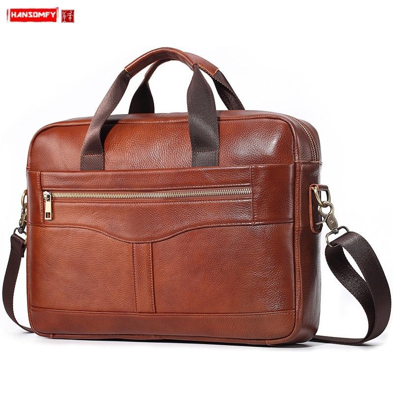 Real Genuine Leather Men's Bag Business Briefcase Men Handbags Laptop Shoulder Messenger Bag Casual Multi-function Travel Bags