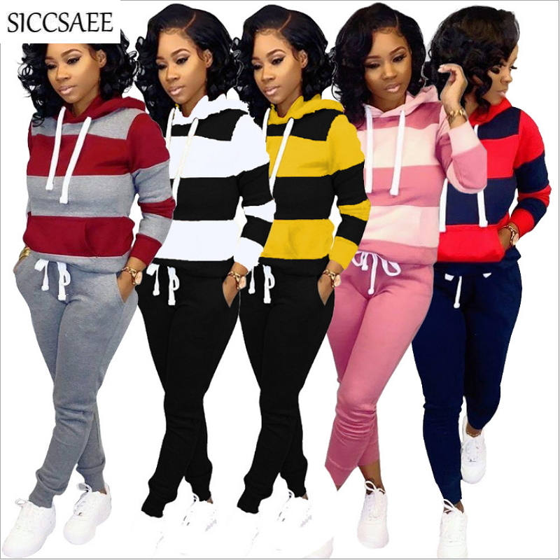 Striped Contrast Color Patchwork Two Piece Set Hoodies Sweatshirt Long Pants Plus Size Clothing Suit Moleton Tracksuit For Women