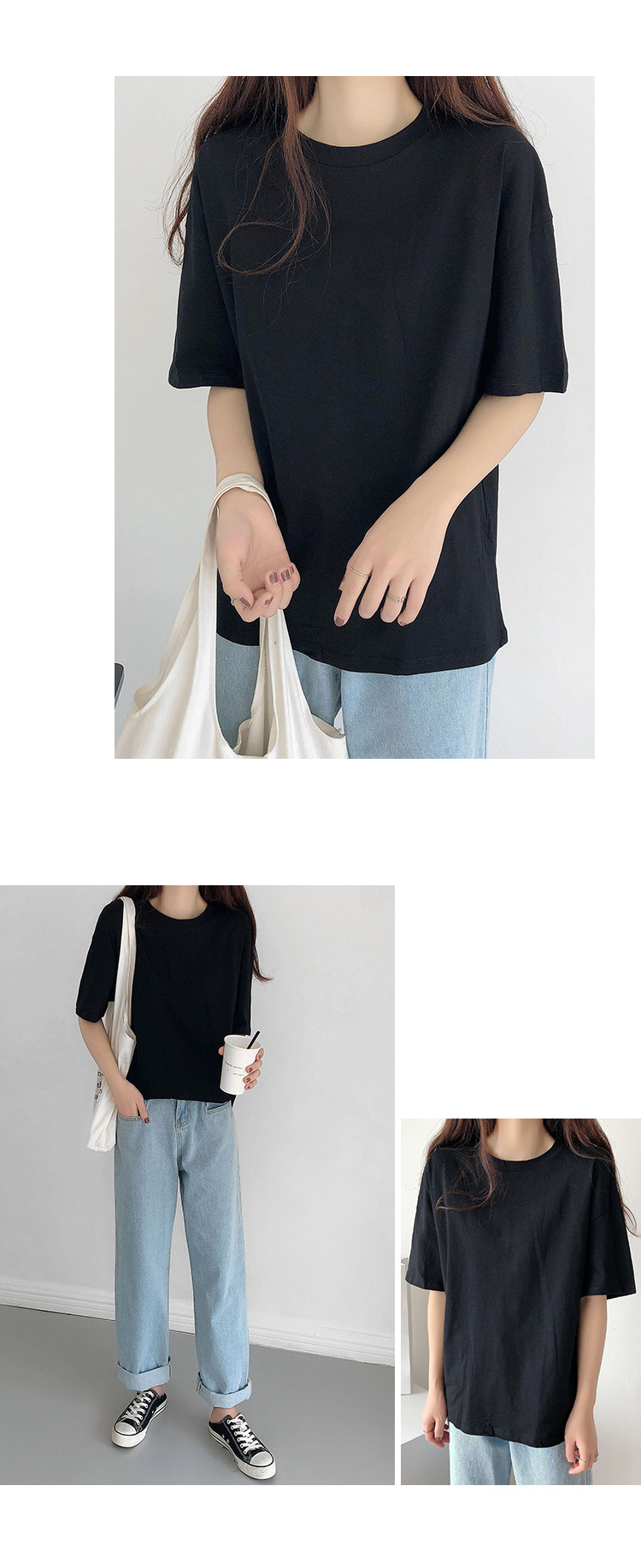 H69d5e3c633f7460ca9b6fdc20416866bn - Summer O-Neck Short Sleeves Minimalist Loose Basic T-Shirt