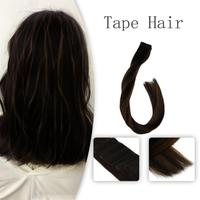Vlasy 20'' Remy Double Drawn Adhesive Tape Hair Extension Dark Brown Mix Medium Brown Balayage Color Sunkiss# 2.5g/pc