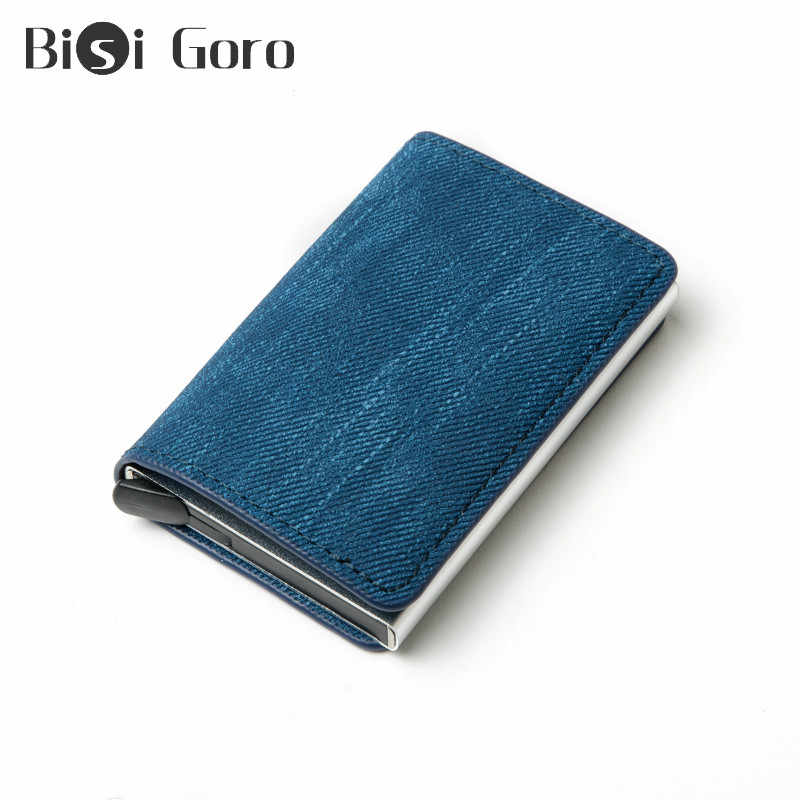Bisi Goro Nieuwe 2020 Denim Credit Kaarthouder Rfid Blocking Minimalistische Portemonnee Pop-Up Security Card Case Slim Anti -Diefstal Id Houder