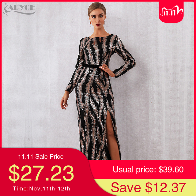 Adyce 2020 New Autumn Sequin Celebrity Evening Runway Party Dress Women Sexy Backless Maxi Long Sleeve Night Club Bodycon Dress