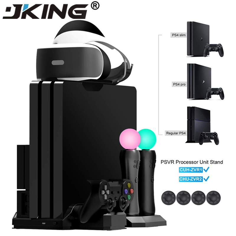 PS4 Pro Slim PS VR Move Vertical Stand Cooler Cooling Fan Controller Charger Charging Dock for