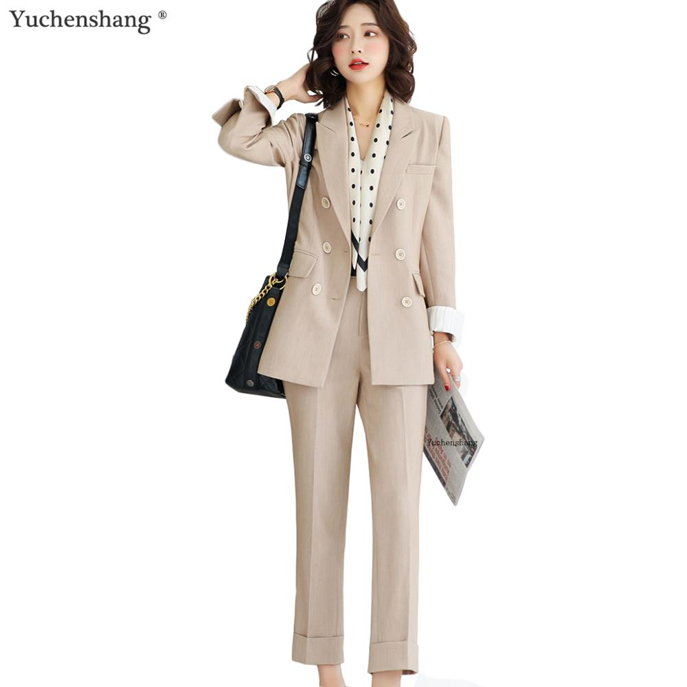 Casual Pants Suits Women 2 Piece Sets 2019 New Winter Fashion Long Sleeve Triple Breasted Blazer And Ankle Length Pants