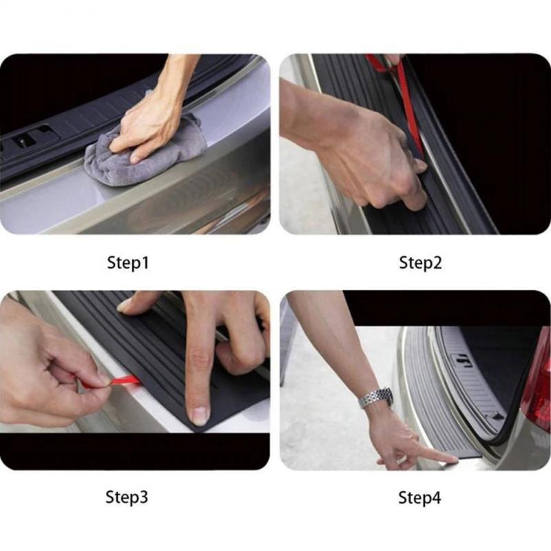 Universal 90*8cm Car Trunk Door Sill Plate Protector Rear Bumper Guard Rubber Mouldings Pad Trim Cover Strip Car Styling TSLM1