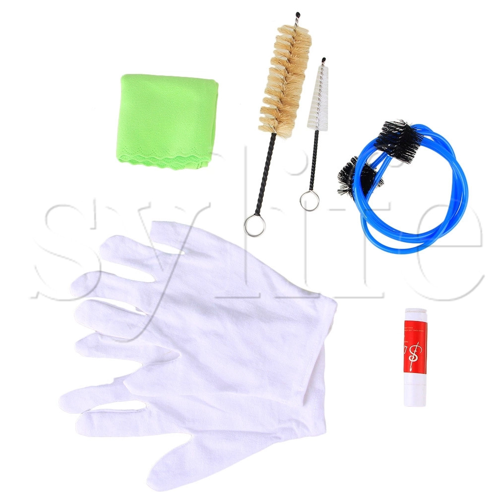 6 X Saxophone Trumpet Cleaning Maintenance Kit Cork Grease Brush Cloth