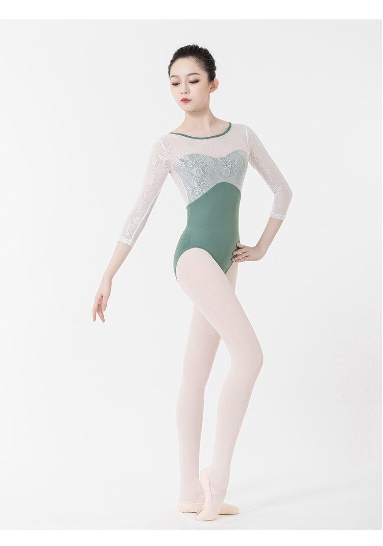 Girls Mesh Gymnastics Leotard Ballet Dance Dress Off-shoulder Jumpsuit Costume