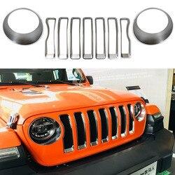 ABS srebrny kratka z siatki Grill wkładka + reflektorów włącz pokrywa na światła tapicerka dla Jeep Wrangler JL 2018 2019 akcesoria