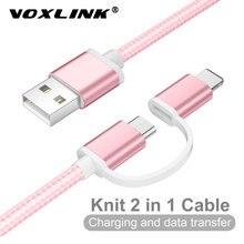 VOXLINK – câble Micro USB 2 en 1 à 8 broches pour recharge rapide et transfert de données, cordon de chargeur pour téléphone android, Samsung, Huawei, Xiaomi