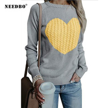Sweater Women Oversize Pullover Knitted Long Sleeve Ladies Girl Autumn Winter Pull Femme Heart Top