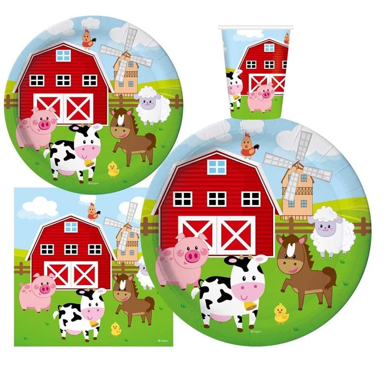Juego de suministros de fiesta de cumpleaños de animales Barnyard Fun House, platos para baby shower, juego de servilletas y tazas para niños mediante conversión creativa