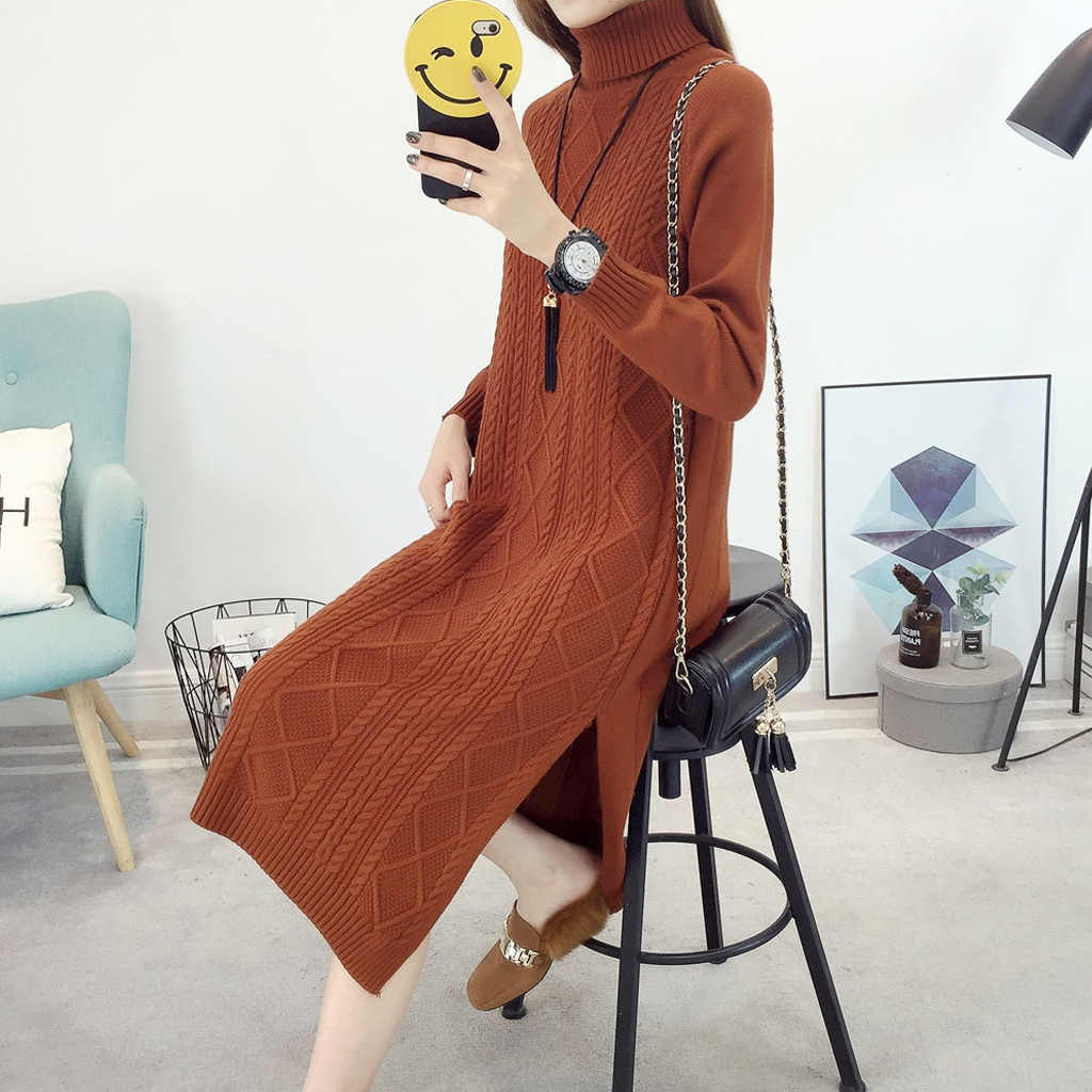 터틀넥 풀오버 겨울 의류 여성 스웨터 2019 한국어 니트 긴 드레스 스웨터 점퍼 여성 콜드 블라우스 lw1137