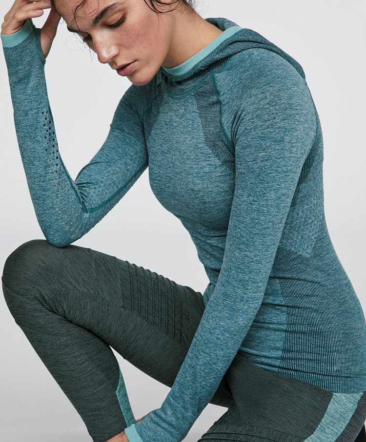 Good Quality Women Gym Yoga Fitness Running Long Sleeve Hooded Top