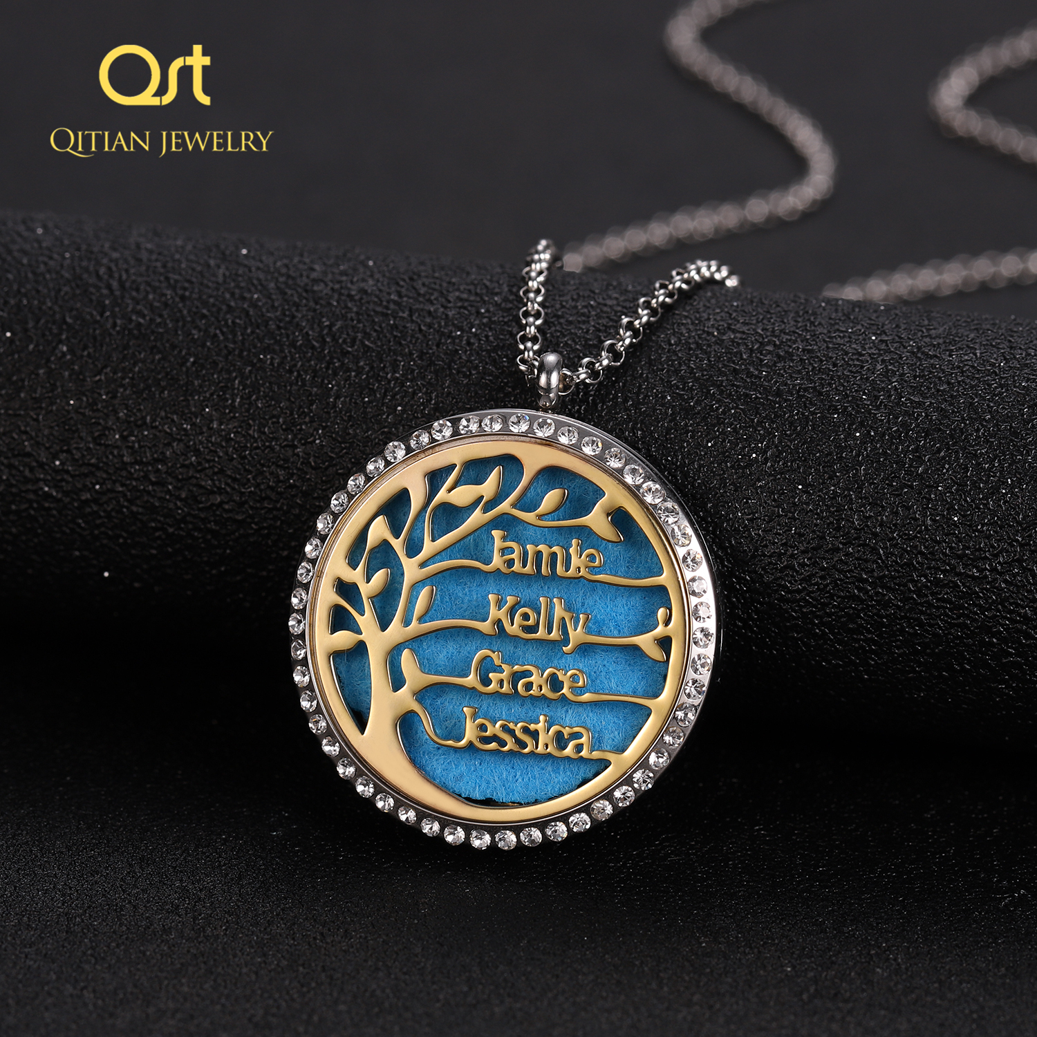 Personalized Statement Family Tree Necklace For Women custom Name Aromatherapy Stainless Steel Necklaces Men Jewelry bijoux Gift 2