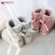 G&Zaco Luxury Short Sheepskin Boots Sheep Fur Snow Natural Wool Flat Back Sweet Bow Ankle Student Winter Women