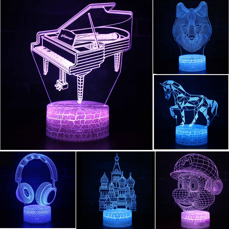 Musical Instruments Series Gift Lamp 3D Night Light Colorful Touch LED Lamp Small Table Lamp Bedside Lamp Originality Decorative