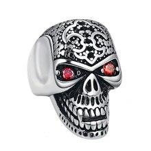 лучшая цена Men's Vintage Skull Ring Biker Hiphop Punk Skeleton Rings Stainless Steel Men Ring Jewelry Dropshipping
