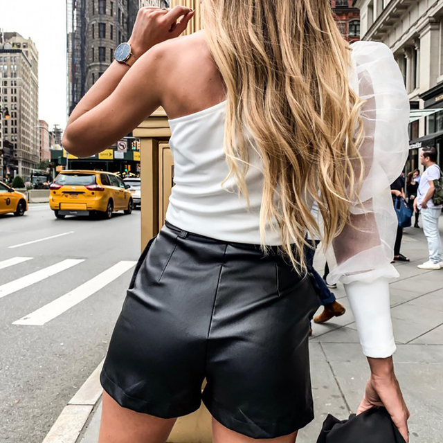 PU Leather High Waist Shorts Women Black Shorts With Belt Bow Casual Sexy Short Fashion Streetwear Ladies Autumn Winter D30 2