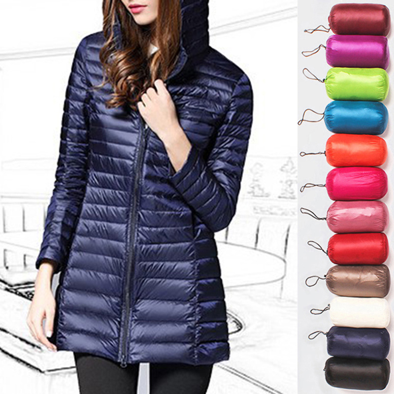Hiking Jackets Hooded Women Camping Parkas Warm Winter Casual Slim Light Solid Trip Long title=