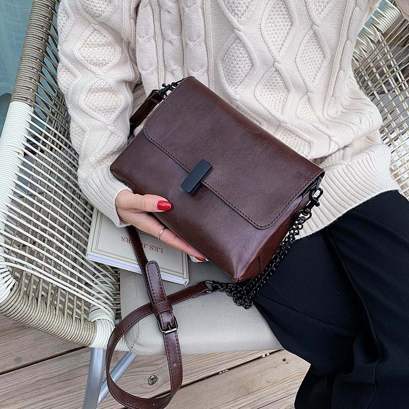 Solid Color Simply PU Leather Crossbody Bags For Women 2020 Fashion Shoulder Messenger Bag Lady Chain Handbags