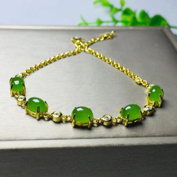 High Quality Fashion Jasper 925 Sterling Silver Gold Chain Vintage Woman Party Gift Bracelet