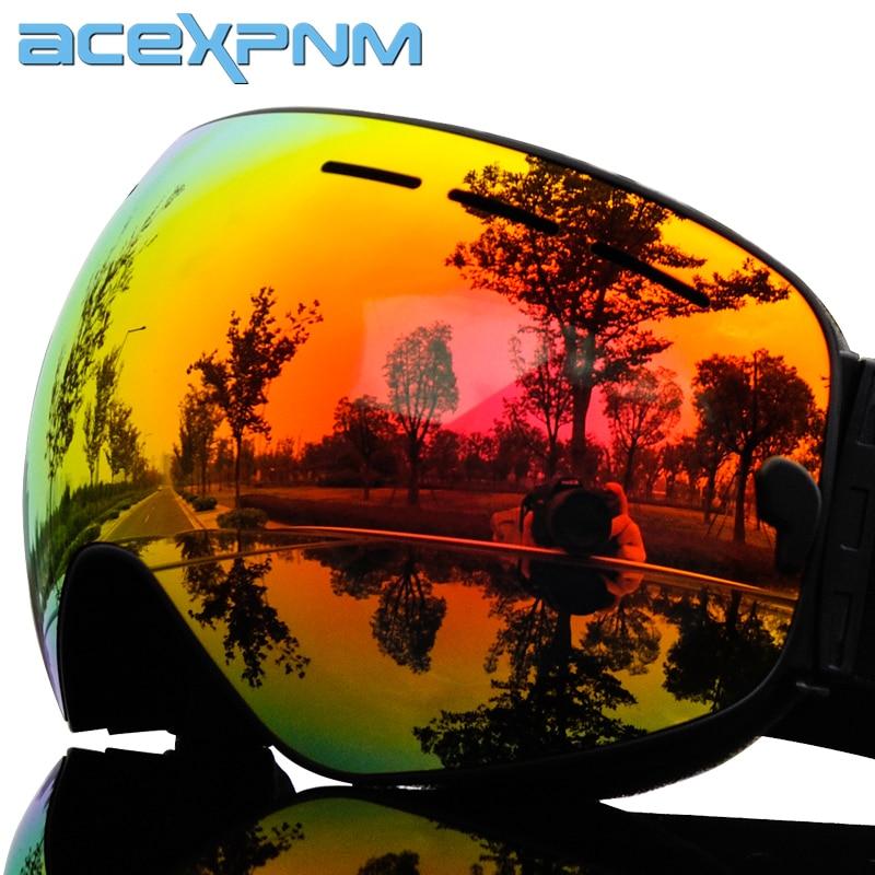 2019 Brand Ski Goggles Full Mirror UV400 Anti-fog Big Ski Mask Glasses Skiing Men Women Snow Snowboard Goggles 3 Lens