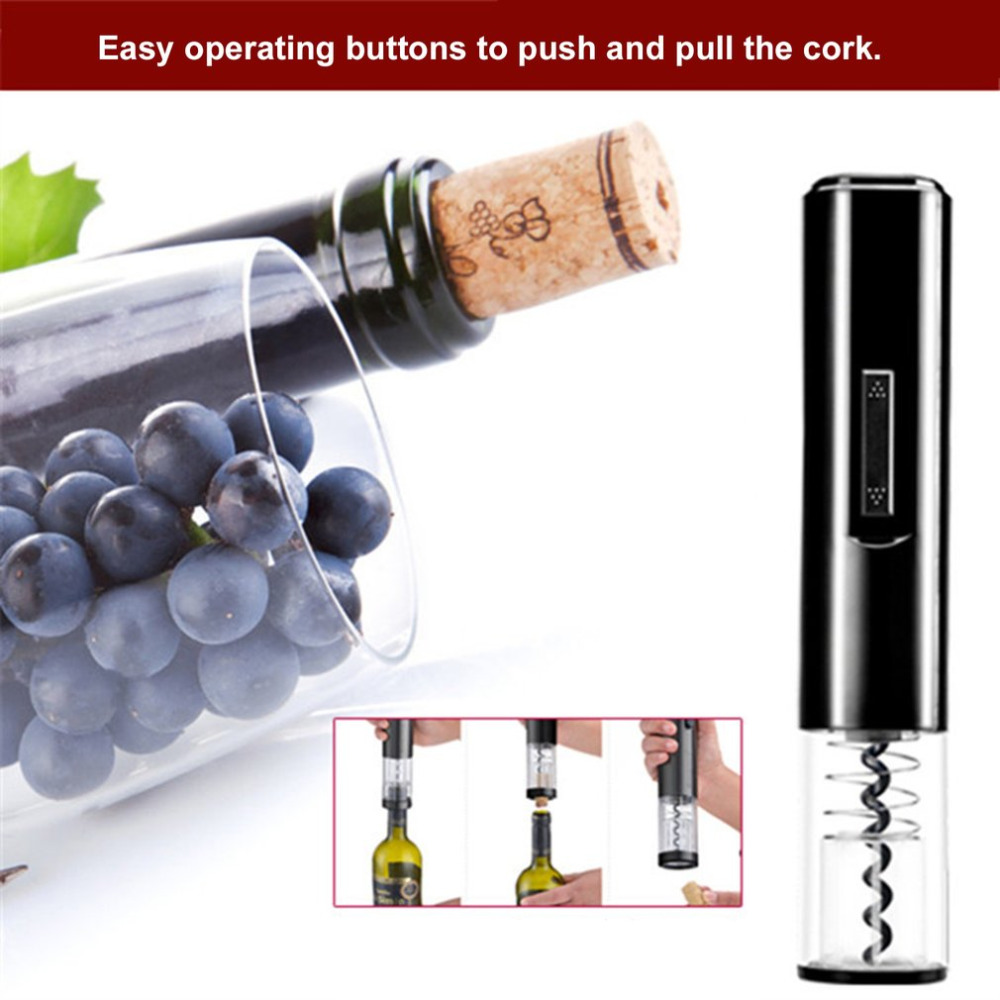 PREUP Black Color Portable Size K1 Dry Battery Powered Design Electric Bottle Opener Automatic Household Use Wine Bottle Opener