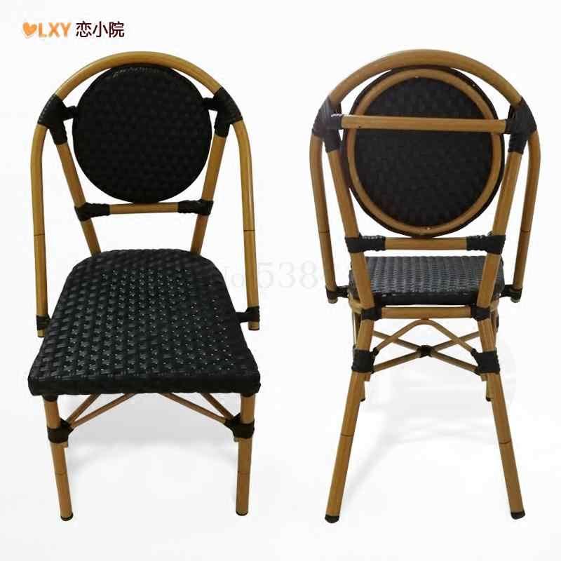 الفرنسية الطعام كرسي كرسي من الخيزران الظهر البراز شرفة في الهواء الطلق كرسي مصنوع من الخيزران كرسي مقهى البلاد الأمريكية الرجعية واحدة