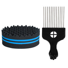 Hair Brush Sponge Metal Hair Pick Comb Double-sided Sponge Afro Comb for Hair Styling Hair curl afro coil sponge brush(China)