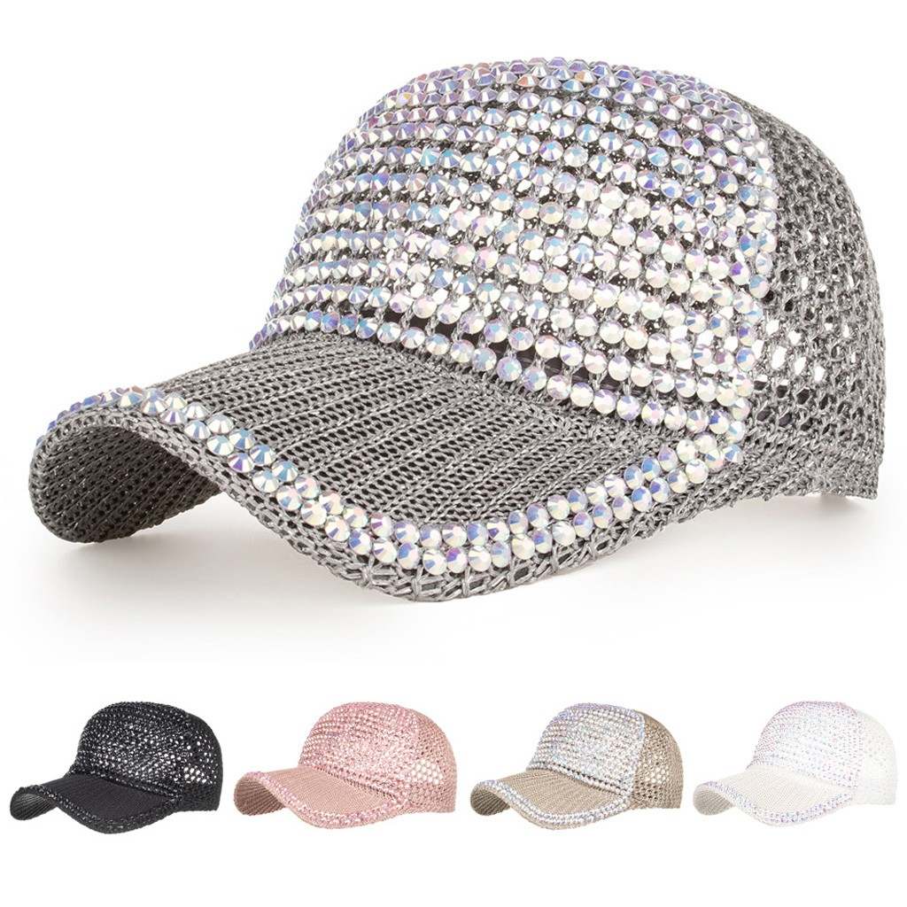 2020 New <font><b>Glitter</b></font> <font><b>Ponytail</b></font> <font><b>Baseball</b></font> <font><b>Cap</b></font> <font><b>Women</b></font> Breathable Beach Snapback Rhinestones Adjustable Hats <font><b>Caps</b></font> Hip Hop Hat Sun Hat image