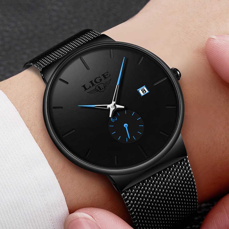 LIGE montre à Quartz femmes pour hommes montre haut de gamme de luxe Design Unique mode montres unisexe Ultra mince montre-bracelet Para Hombre